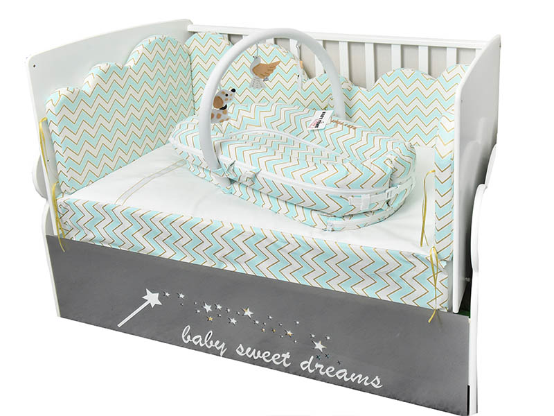 Crib Bedding Nest 3in1 Playset, Gray And Mint Green Baby Bedding